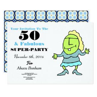 50およびすばらしい第50記念日の招待状 カード