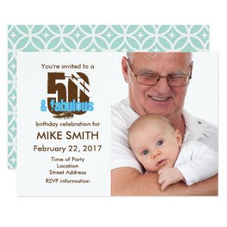 50およびすばらしい第50誕生日の招待状 12.7 X 17.8 インビテーションカード