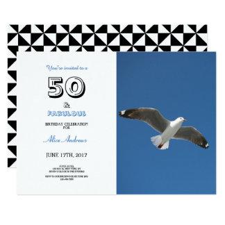 50およびすばらしい誕生日の写真の招待状 12.7 X 17.8 インビテーションカード