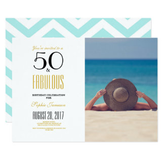 50およびすばらしい の第50誕生日のパーティの招待状 12.7 X 17.8 インビテーションカード