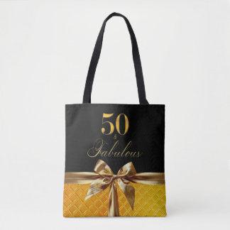 50およびすばらしく黒い金ゴールドの弓輝きの革 トートバッグ