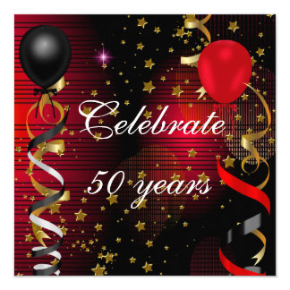 50の第50誕生会の黒の赤の星を祝って下さい 13.3 スクエアインビテーションカード