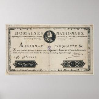 50のlivresの銀行券、1790年10月29日 ポスター