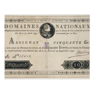 50のlivresの銀行券、1790年10月29日 ポストカード