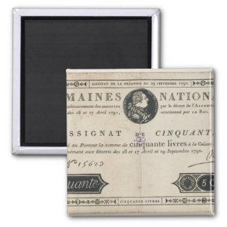 50のlivresの銀行券、1790年10月29日 マグネット