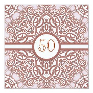 50匹の結婚記念日のダマスク織の招待状 13.3 スクエアインビテーションカード