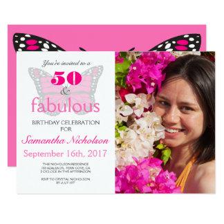 50及びすばらしいピンクの第50誕生日のパーティの招待状 12.7 X 17.8 インビテーションカード