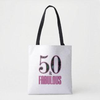 50及びすばらしいピンクの黒いタイポグラフィの第50誕生日 トートバッグ