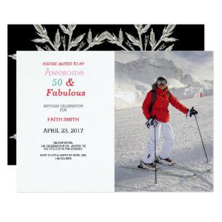 50及びすばらしい写真の第50誕生日のパーティの招待状 12.7 X 17.8 インビテーションカード