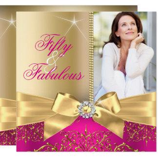 50及びすばらしい写真の金ゴールドのピンクの弓第50誕生日 カード