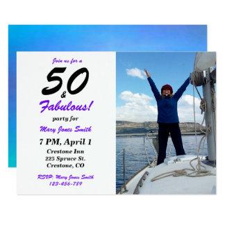 50及びすばらしい第50誕生日の写真の招待状 12.7 X 17.8 インビテーションカード