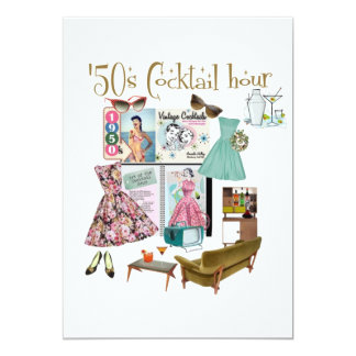 50年代のカクテル時間の招待状 カード