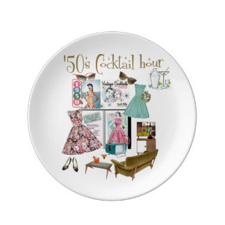 50年代のカクテル時間 磁器製 皿