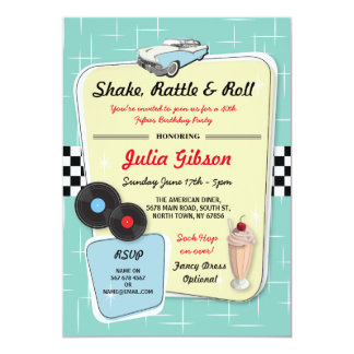 50年代のダイナーの誕生会の五十年代のレトロの招待 カード