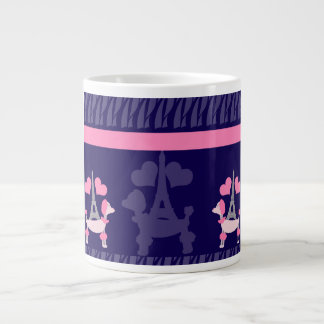 50年代のパリのプードル ジャンボコーヒーマグカップ