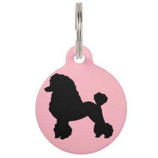 50年代のピンクのプードルのスカートの刺激を受けたなドッグタッグ ペット ネームタグ