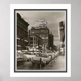 50年代のポートランドオレゴンB&Wポスター20 x 24 ポスター