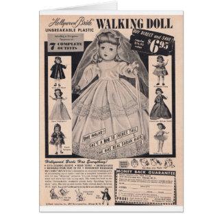 50年代の歩く人形のハリウッドの花嫁 カード
