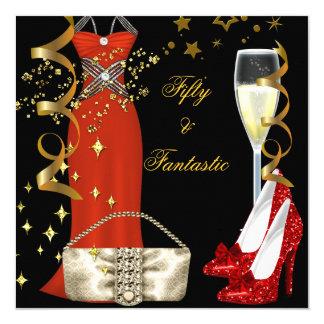 50素晴らしく赤い服の黒の金ゴールドの誕生会 カード