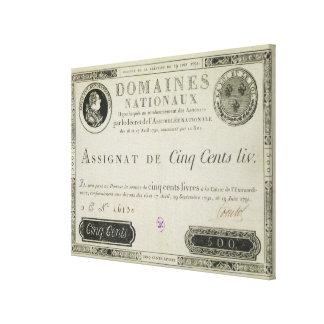 500のlivresの銀行券、1791年6月19日 キャンバスプリント