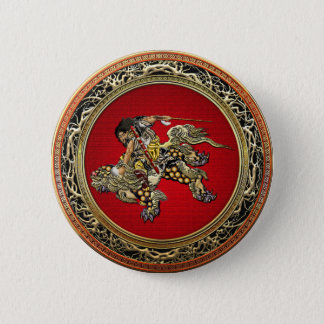[500] Shishiのライオンに乗るHokusai - Shoki 缶バッジ