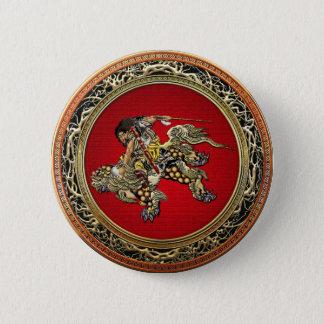 [500] Shishiのライオンに乗るHokusai - Shoki 5.7cm 丸型バッジ