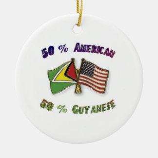 50%のアメリカ人50% Guyanese セラミックオーナメント