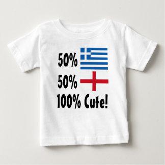 50%のギリシャ人50%の100%かわいい英語 ベビーTシャツ