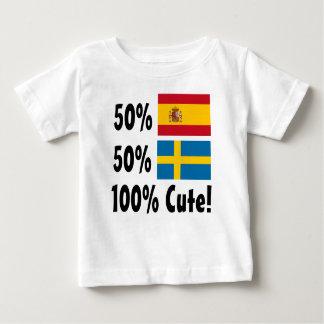 50%のスペイン人50%のスウェーデン語かわいい100% ベビーTシャツ