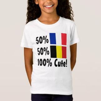 50%のフランス人50%のベルギー人かわいい100% Tシャツ