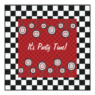 50sレトロのパーティーのチェッカーボードのダイナーの装飾 カード