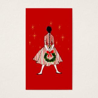 50s女の子のクリスマスのギフトのラベル 名刺
