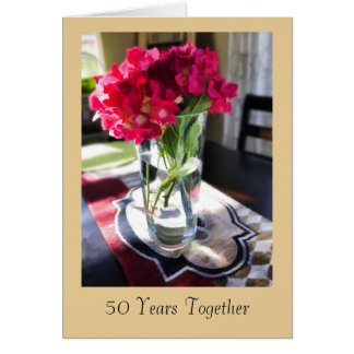 50th Anniversary Greeting Card with Red Flowers カード