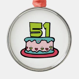 51歳のお誕生日ケーキ メタルオーナメント