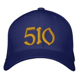 510野球帽-青および金ゴールド 刺繍入りキャップ