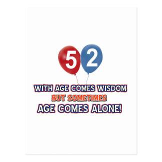 52歳の知恵の誕生日のデザイン ポストカード