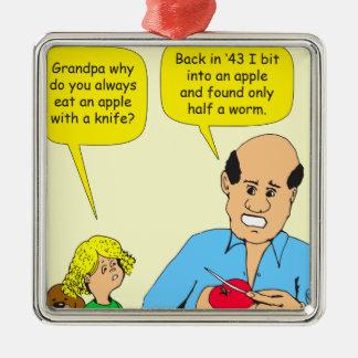 523の祖父の切口のりんごの漫画 メタルオーナメント