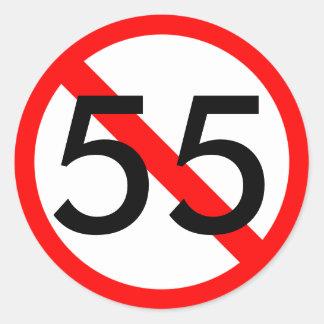 55制限速度のステッカー ラウンドシール