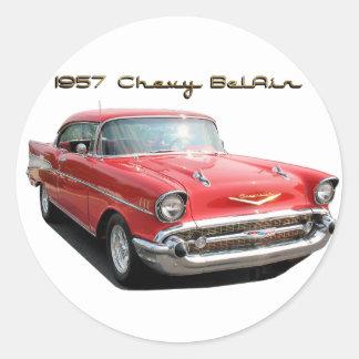 57 Chevy Belairのステッカー ラウンドシール