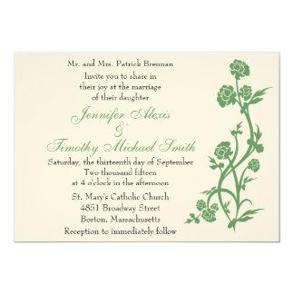 5x7セージグリーンの花柄の結婚式招待状 カード
