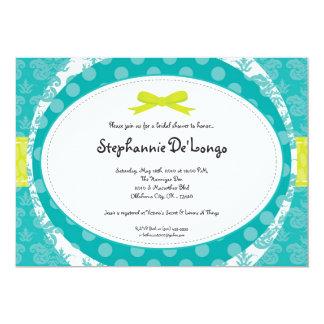 5x7ティール(緑がかった色)のTurquの暗藍色のブライダルシャワーの招待状 カード