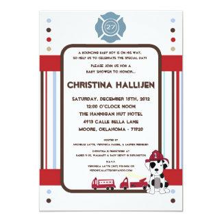 5x7 Nojoの消防車のベビーシャワーの招待状 カード