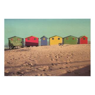 6つのカラフルなビーチ小屋|ケープタウン、南アフリカ共和国 ウッドウォールアート