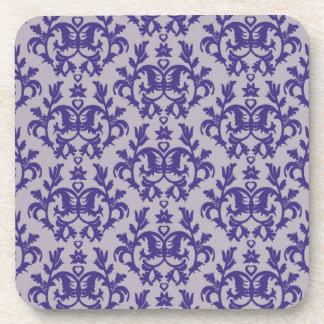 6つのコースターのダマスク織の紫色及び灰色の植物のセット コースター