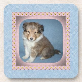 6の置かれるかわいいシェットランド・シープドッグの小犬のコースター コースター