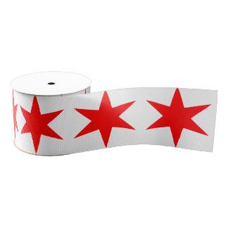 6先の尖ったシカゴの旗の赤の星 グログランリボン