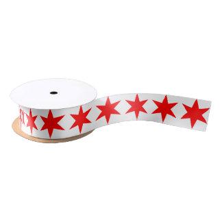 6先の尖ったシカゴの旗の赤の星 サテンリボン