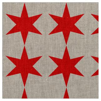 6先の尖ったシカゴの旗の赤の星 ファブリック