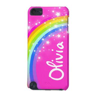 """""""6手紙の)虹ピンクの女の子のiPodのあなたの一流の"""" (箱 iPod Touch 5G ケース"""