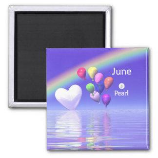 6月の誕生日の真珠のハート マグネット
